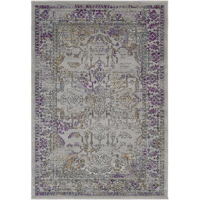 Cassian Taupe/Bright Purple Area Rug Rug Size: Rectangle 53 x 76