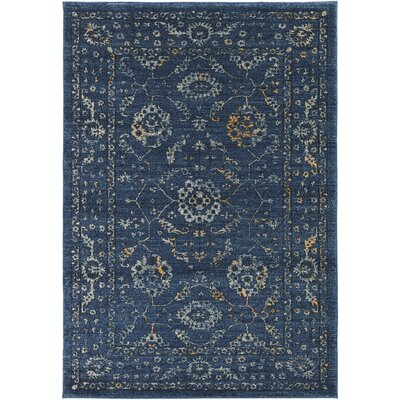 Cassian Navy/Teal Area Rug Rug Size: Rectangle 710 x 103