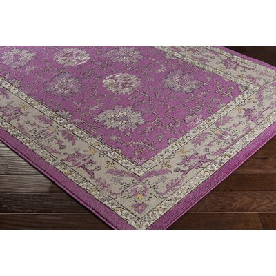 Cassian Oriental Bright Purple/Taupe Area Rug Rug Size: 53 x 76