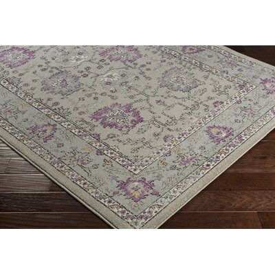 Cassian Bright Purple/Taupe Area Rug Rug Size: 53 x 76