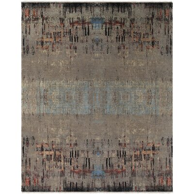Cleve Hand-Knotted Camel/Aqua Area Rug Rug Size: Rectangle 6 x 9