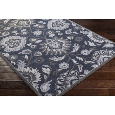 Keefer Hand-Tufted Navy/Charcoal Area Rug Rug Size: Oval 6 x 9