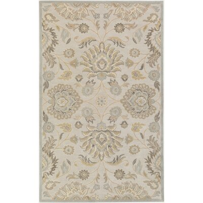 Topaz Hand-Tufted Light Gray/Khaki Area Rug Rug Size: Oval 6 x 9