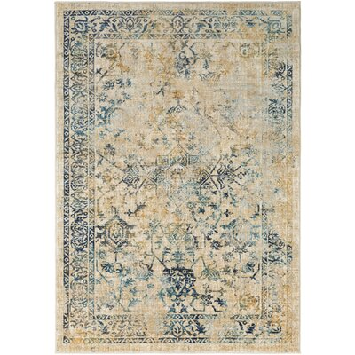 Herring Teal/Navy Area Rug Rug Size: 53 x 76