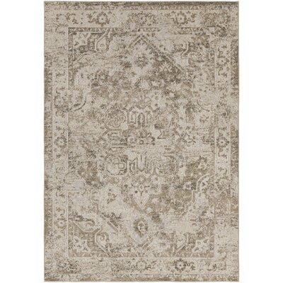 Angus Oriental Khaki/Black Indoor/Outdoor Area Rug Rug Size: 53 x 73