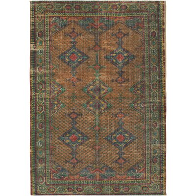 Lezama Hand-Woven Khaki/Bright Orange Area Rug Rug Size: 5 x 76