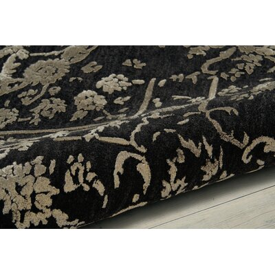 Buecker Hand-Tufted Black Area Rug Rug Size: 56 x 75