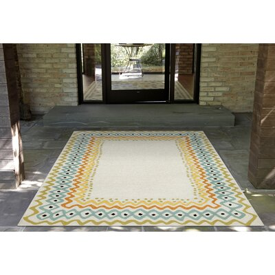 Bahri Ethnic Border Hand-Tufted Natural Indoor/Outdoor Area Rug