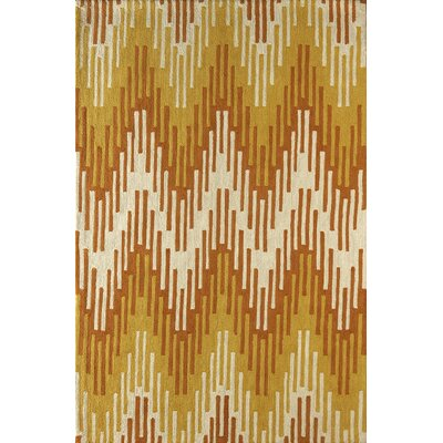 Luciano Hand-Tufted Orange/Ivory Area Rug Rug Size: 6 x 9