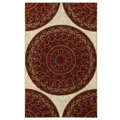 Vermont Beige/Red Area Rug Rug Size: Rectangle 76 x 10