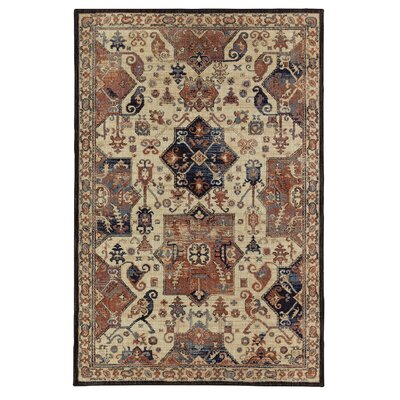 Delora Beige/Blue Area Rug Rug Size: Rectangle 76 x 10