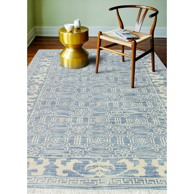 Cristhian Hand-Knotted Denim Area Rug Rug Size: 36 x 56