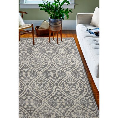 Ferran Hand-Knotted Grey Area Rug Rug Size: 76 x 96