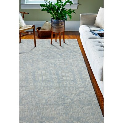 Ferran Hand-Knotted Light Blue Area Rug Rug Size: 36 x 56