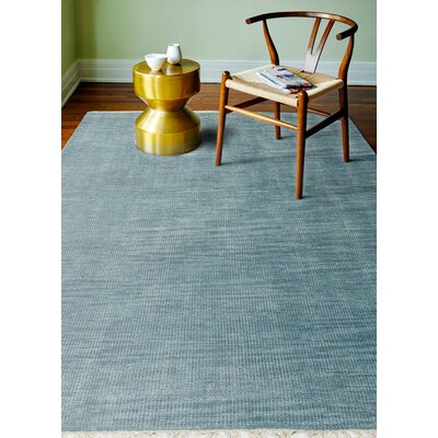 Cristhian Hand-Knotted Teal Area Rug Rug Size: 86 x 116