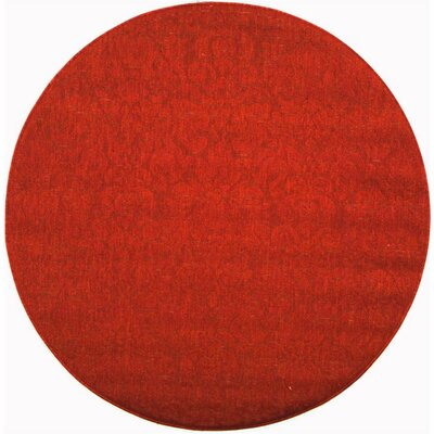 Catori Red Solid Outdoor Area Rug Rug Size: Round 53