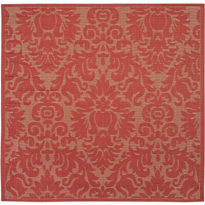 Catori Red Solid Outdoor Area Rug Rug Size: Rectangle 27 x 5