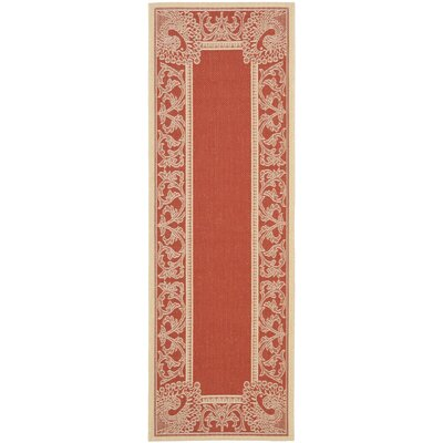 Catori Red & Natural Outdoor/Indoor Area Rug Rug Size: Rectangle 27 x 5