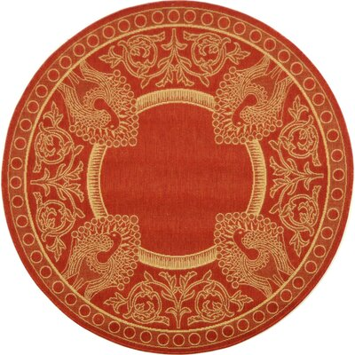 Catori Red & Natural Outdoor/Indoor Area Rug Rug Size: Round 67