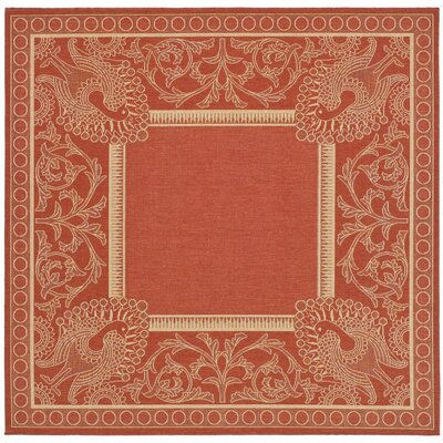 Catori Red & Natural Outdoor/Indoor Area Rug Rug Size: Square 67