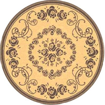 Elisabeth Natural/Brown Outdoor Rug Rug Size: Round 53