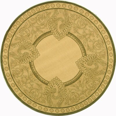 Catori Natural / Olive Outdoor Area Rug Rug Size: Round 53