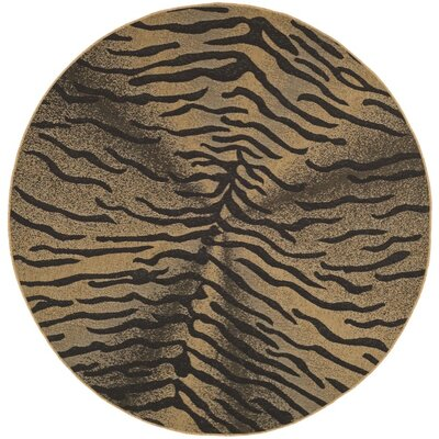 Catori Light Black/Natural Outdoor Rug Rug Size: Round 67