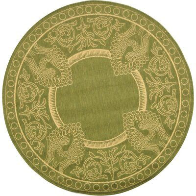 Catori Olive/Natural Rug Rug Size: Round 710