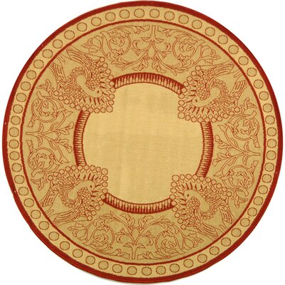 Catori Natural / Red Outdoor Area Rug Rug Size: Round 6'7
