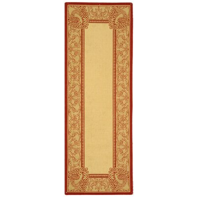 Catori Natural / Red Outdoor Area Rug Rug Size: Runner 27 x 5