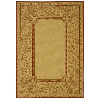 Catori Natural / Red Outdoor Area Rug Rug Size: Rectangle 4 x 57