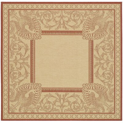 Catori Natural / Red Outdoor Area Rug Rug Size: Square 67