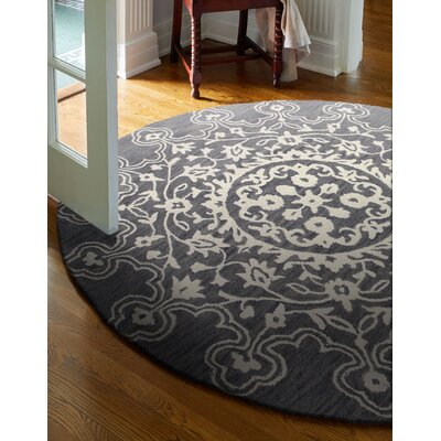Ale Hand-Tufted Grey Area Rug Rug Size: Round 6