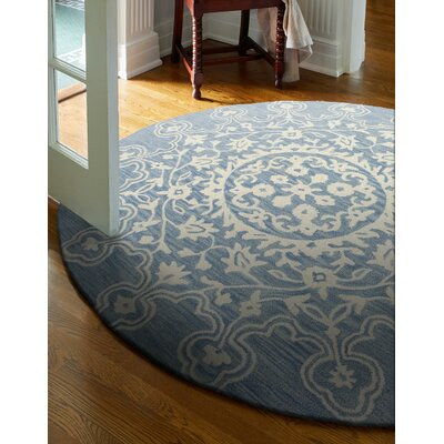Mandy Hand-Tufted Light Blue Area Rug Rug Size: Round 6