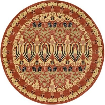 Fonciere Rust Red Area Rug Rug Size: Round 8