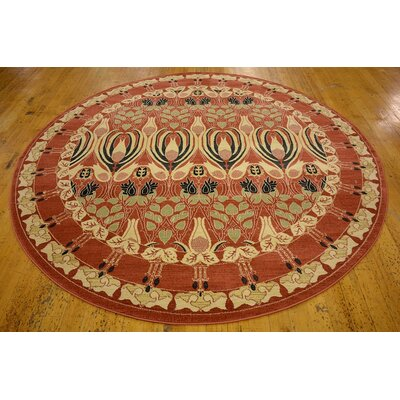 Sebou Rust Red Area Rug Rug Size: Round 8