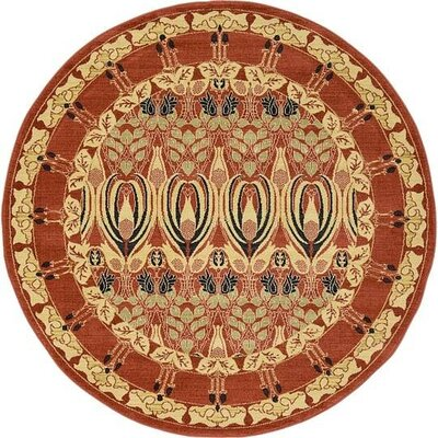 Fonciere Rust Red Area Rug Rug Size: Round 6