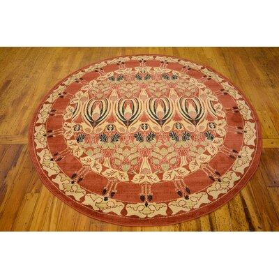 Sebou Rust Red Area Rug Rug Size: Round 6