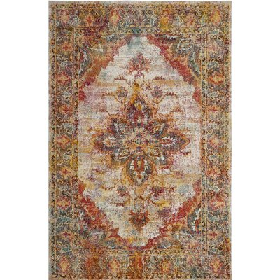 Mabel Cream/Rose Area Rug Rug Size: 9 x 12