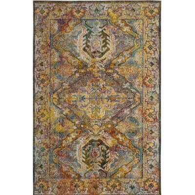 Callie Light Blue/Orange Area Rug Rug Size: 4 x 6