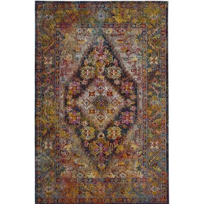 Vivace Pink/Yellow Area Rug Rug Size: Square 7