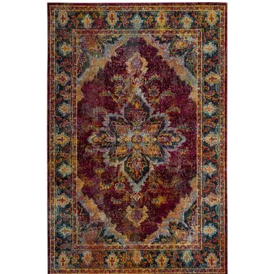 Mabel Ruby/Navy Area Rug Rug Size: Rectangle 3 x 5