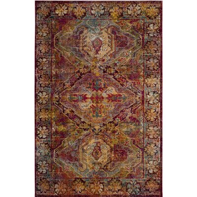 Callie Fuchsia/Light Blue Area Rug Rug Size: Square 7