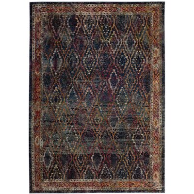 Orkney Navy/Gold Area Rug Rug Size: Rectangle 5 x 8