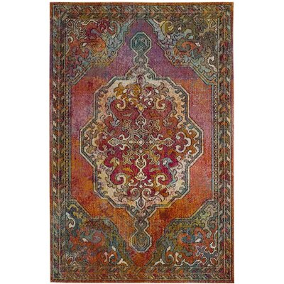Allegro Orange/Light Blue Area Rug Rug Size: 5 x 8