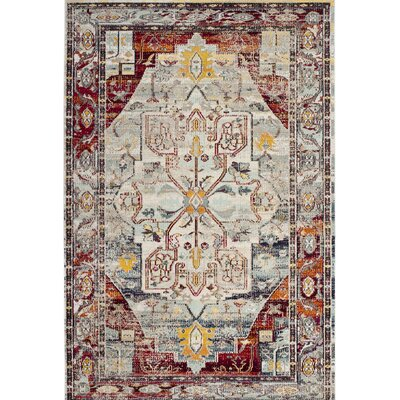 Clavier Light Blue/Red Area Rug Rug Size: 3 x 5