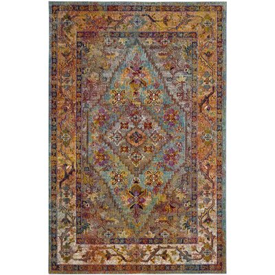 Timpson Light Blue/Orange Area Rug Rug Size: Round 7
