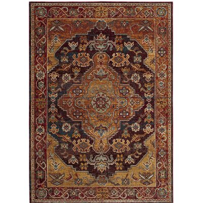 Elba Ruby/Gold Area Rug Rug Size: Square 7