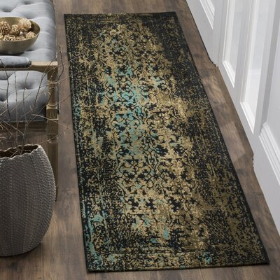 Alona Black/Olive Area Rug Rug Size: Runner 23 x 8