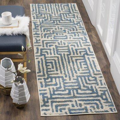 Vadim Ivory/Light Blue Area Rug Rug Size: 3 x 5